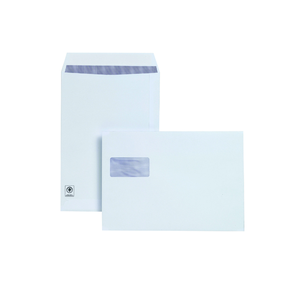 Plus Fabric C4 Window Envelope 120gsm Peel and Seal White (250 Pack) F28749
