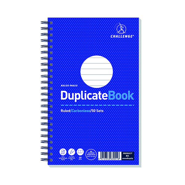 Challenge Wirebound Duplicate Book Ruled Carbonless 50 Sets 210 x 130mm (5 Pack) 100080469