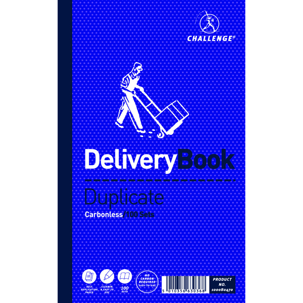 Challenge Carbonless Duplicate Delivery Book 100 Sets 210x130mm (5 Pack) 100080470