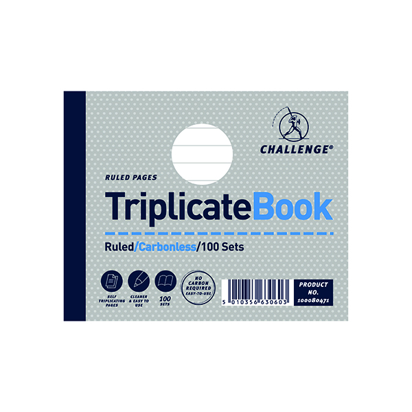 Challenge Triplicate Book Ruled Carbonless 100 Sets 105 x 130mm (5 Pack) 100080471
