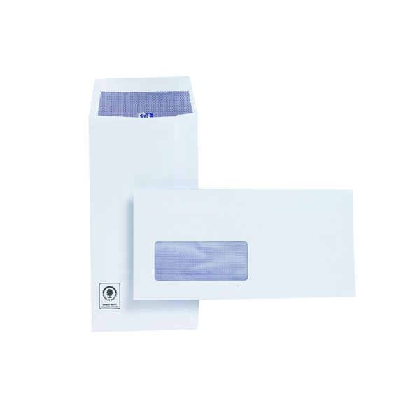 Plus Fabric DL Window Envelope 110gsm Self Seal Pocket White (500 Pack) J26670