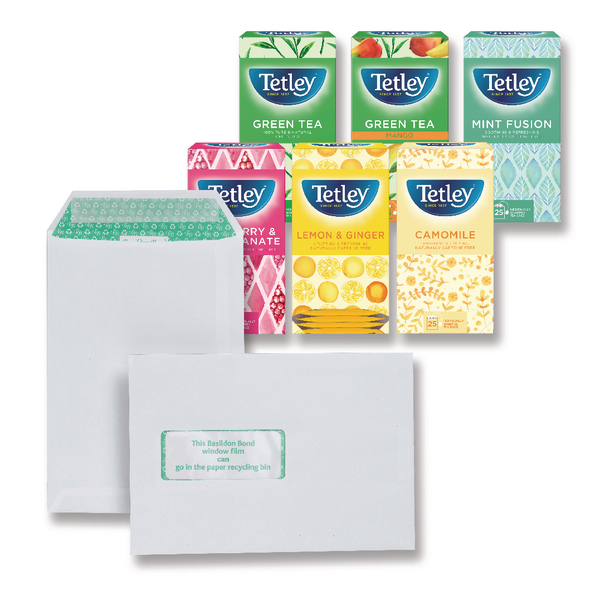 Basildon Bond C5 White Window Envelopes 120gsm (500 Pack) FOC Tetley Fruit and Herbal Tea JDJ814003