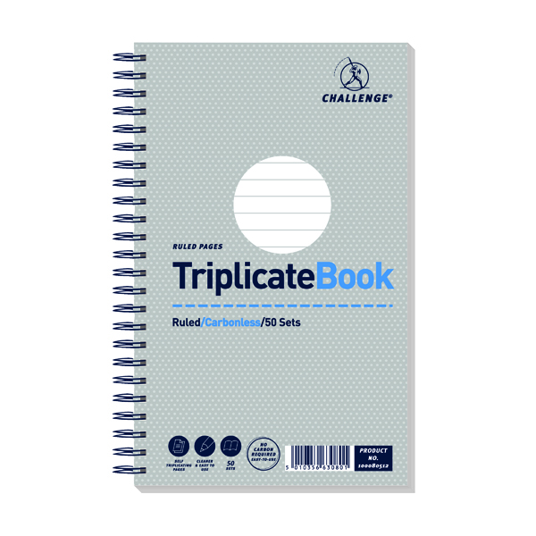 Challenge Wirebound Triplicate Book Ruled Carbonless 50 Sets 210 x 130mm (5 Pack) 100080512