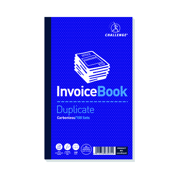 Challenge Duplicate Invoice without VAT Book Carbonless 100 Sets 210 x 130mm (5 Pack) 100080526