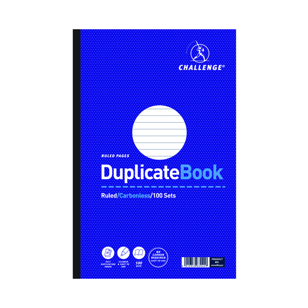 Challenge Duplicate Book Ruled Carbonless 100 Sets 297 x 195mm (3 Pack) 100080527