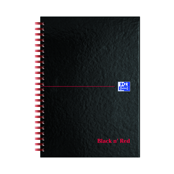 Black n' Red Ruled Perforated Wirebound Hardback Notebook A5 (5 Pack) 846350112