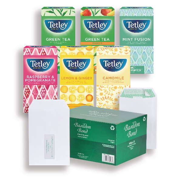 Basildon Bond C5 White Envelopes 120gsm (500 Pack) FOC Tetley Fruit and Herbal Tea JDJ814005
