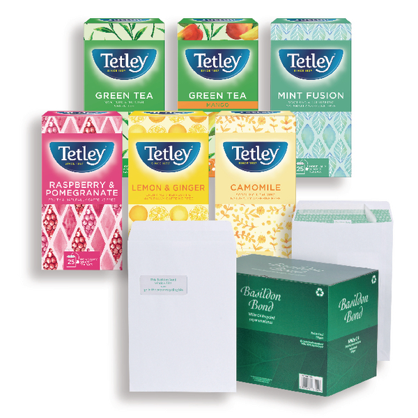 Basildon Bond C4 White Envelopes 120gsm (250 Pack) FOC Tetley Fruit and Herbal Tea JDK814006