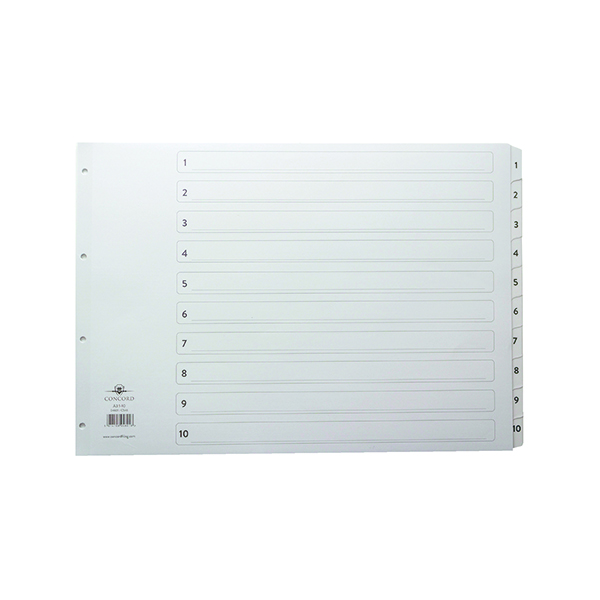 Concord Classic Index A3 1-10 White Board With Clear Mylar Tabs 04601/Cs46