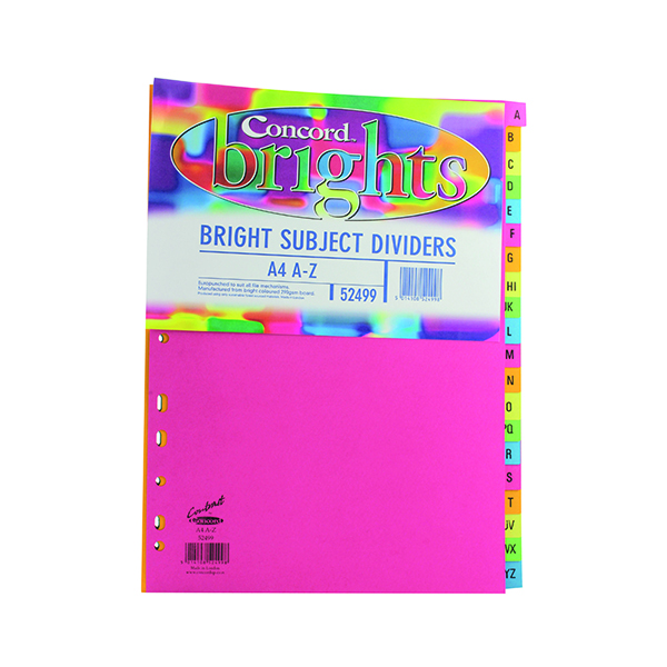 Concord A4 Bright A-Z Subject Dividers (10 Pack) 52499