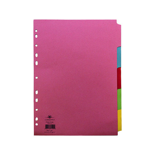 Concord Pastel A4 5-Part Subject Dividers (1 Set of 5 Pack) 71199/J11