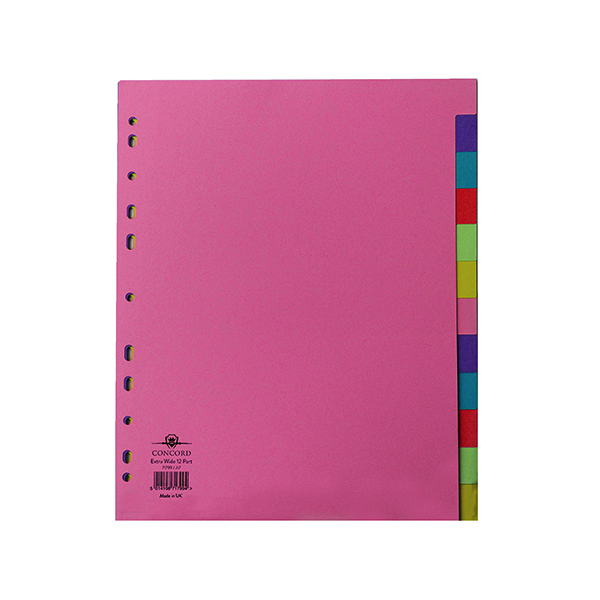 Concord Pastel A4 Extra Wide 12-Part Subject Divider 71799/J17