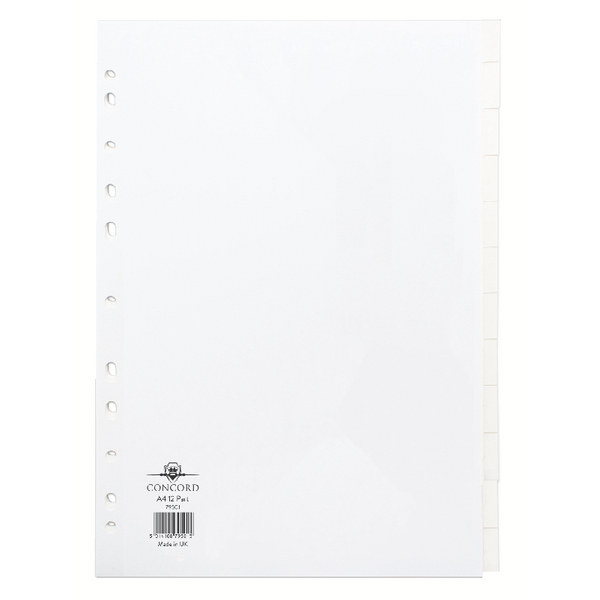 Concord White A4 12-Part Subject Divider (20 Pack) 79501