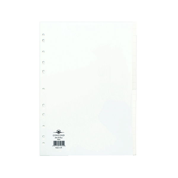Concord A4 20-Part White Subject Divider 79601