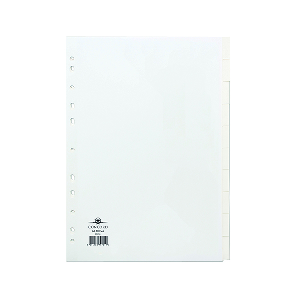 Concord A4 10-Part White Subject Divider 79701