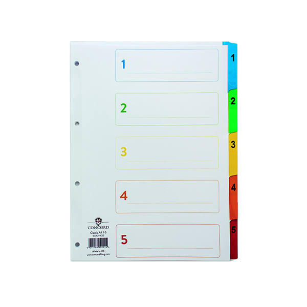 Concord Index 1-5 A4 White With Multi-Colour Tabs 00201/CS2