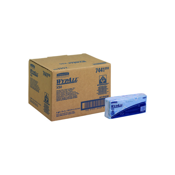 Wypall X50 Blue Cleaning Cloths (50 Pack) 7441