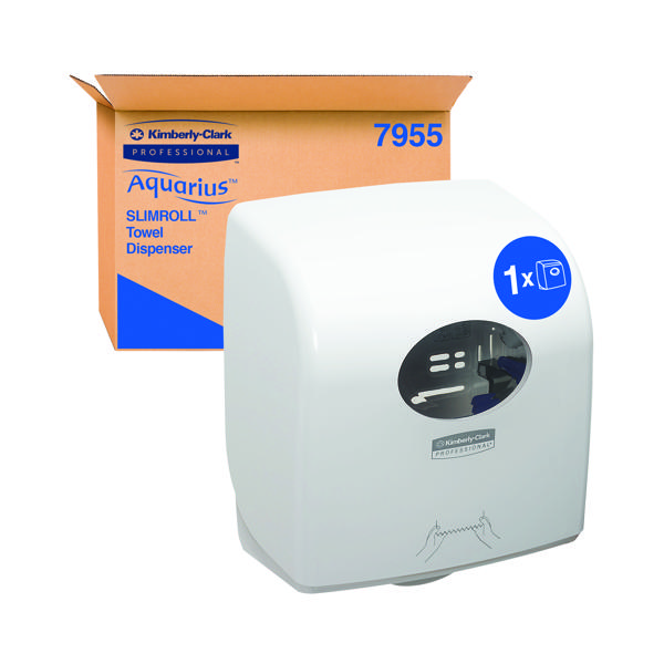 Aquarius Slimroll Rolled Hand Towel Dispenser White 7955
