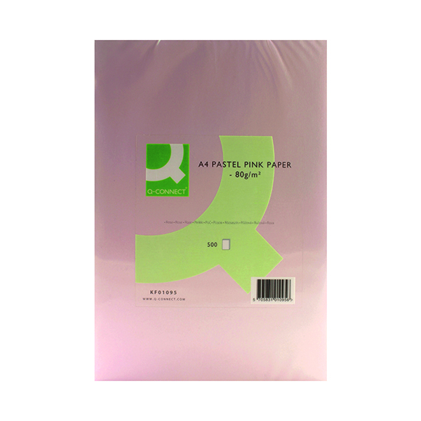 Q-Connect Pink Ream Coloured Copier A4 Paper 80gsm (500 Pack) KF01095