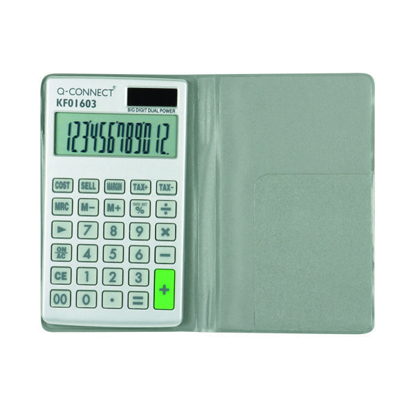 Q-Connect Silver Large 10-Digit Pocket Calculator KF01603