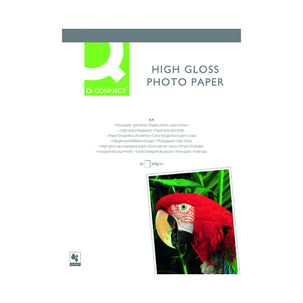 Q-Connect White A4 High Gloss Photo Paper 260gsm (20 Pack) KF02163