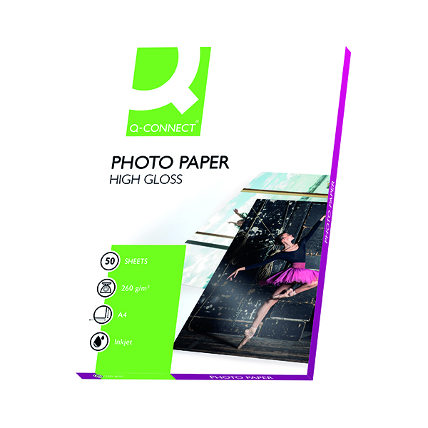 Q-Connect White A4 High Gloss Photo Paper 260gsm (50 Pack) KF02772