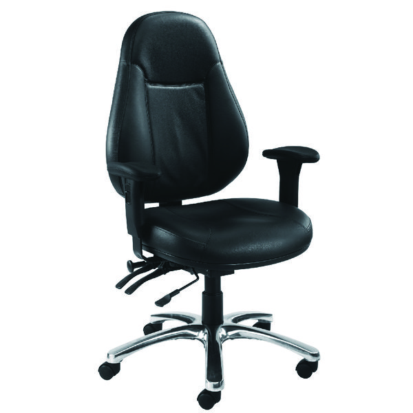 Avior Atlas 24 Hour Leather Operator Black Chair KF03359
