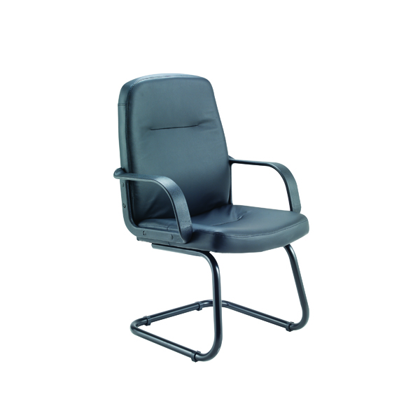 Jemini Rhone Black Leather Look Visitor Chair Cantilever Legs KF03432