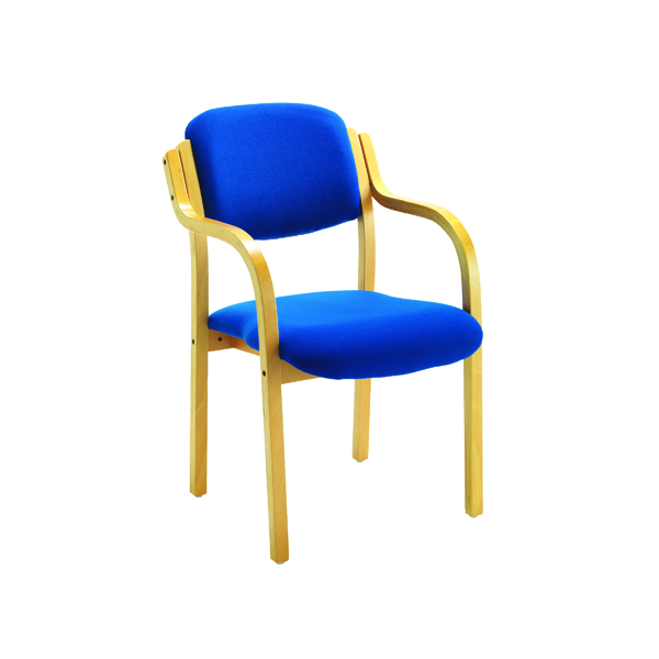 Jemini Wood Frame Side Blue Chair With Arms KF03514