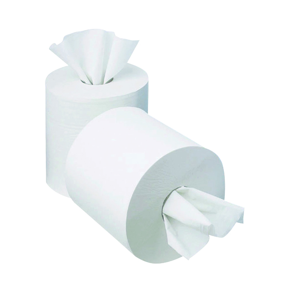 2Work 1-Ply Mini Centrefeed Roll 120m White (12 Pack) KF03784