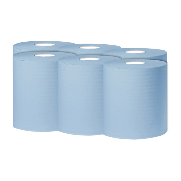 2Work 1-Ply Centrefeed Roll 300m Blue (6 Pack) KF03803