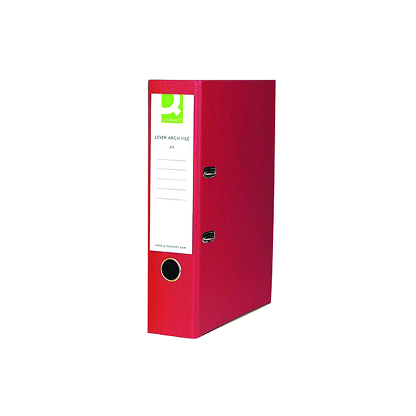 Q-Connect Paper-Backed Red Lever Arch Foolscap File KF20031X