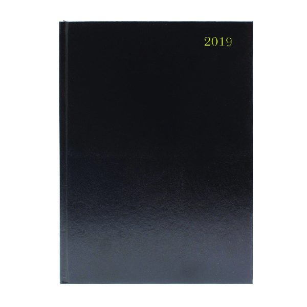 Black A4 2 Pages Per Day 2019 Desk Diary KF2A4BK19