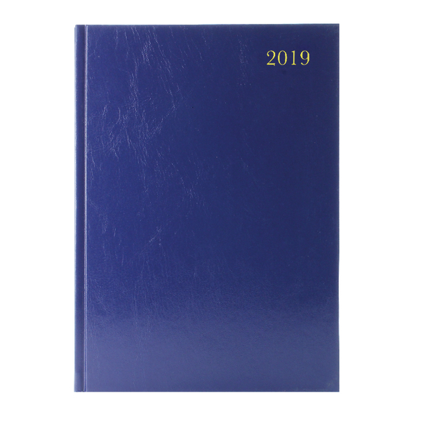 Blue A4 2 Pages Per Day 2019 Desk Diary KF2A4BU19