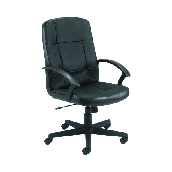 Jemini Thames Black Leather Look Executive Chair With Arms KF50189