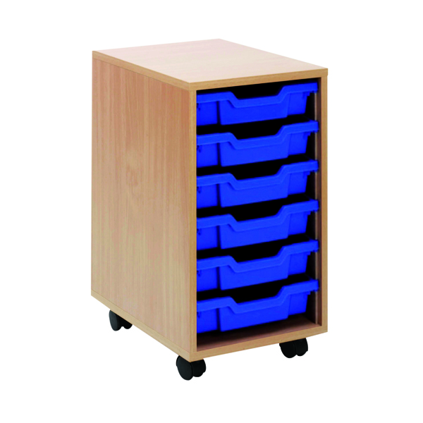 Jemini Beech Mobile Storage Unit 6 Blue Trays KF72338