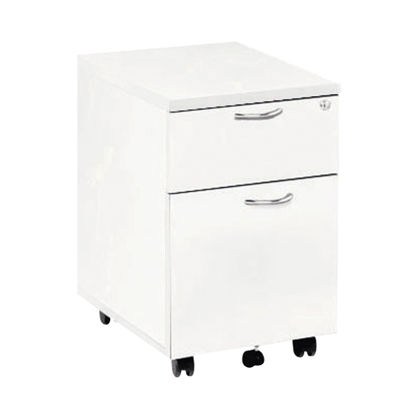 Jemini White 2 Drawer Mobile Pedestal KF74147