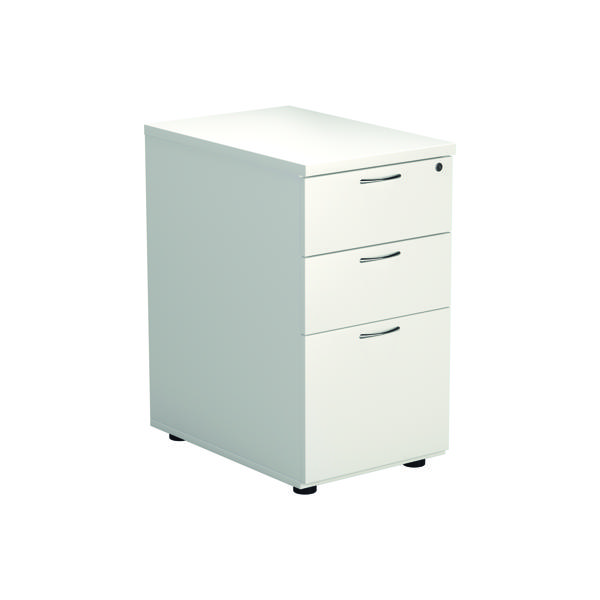 Jemini White 3 Drawer Desk High Pedestal W400xD600xH730mm KF74149