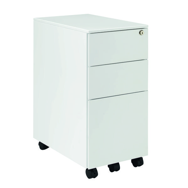 Jemini Mobile Slimline White Steel 3 Drawer Pedestal KF74158