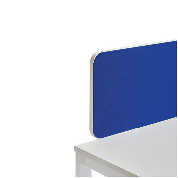 Jemini White Trim 800mm Blue Straight Rounded Corner Desktop Return Screen KF74268