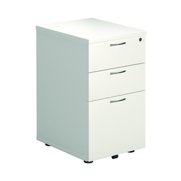 First Tall Under Desk Pedestal 3 Drawer White KF74835