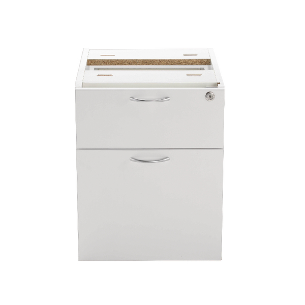 Jemini 2 Drawer Fixed Pedestal White KF78662