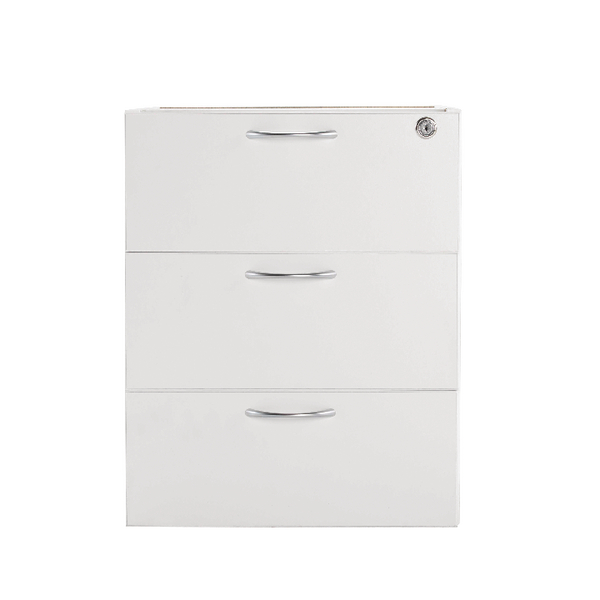 Jemini 3 Drawer Fixed Pedestal White KF78663