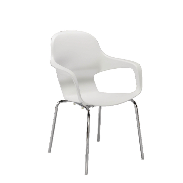 Arista Cafe Bistro Chair with Chrome Base White KF78673