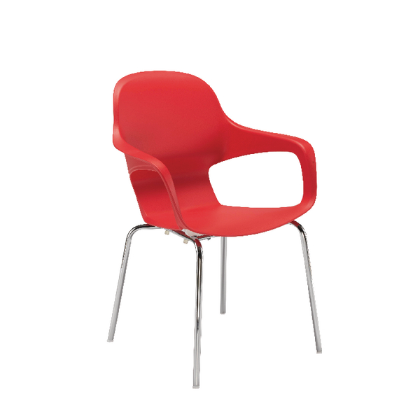 Arista Cafe Bistro Chair with Chrome Base Red KF78674