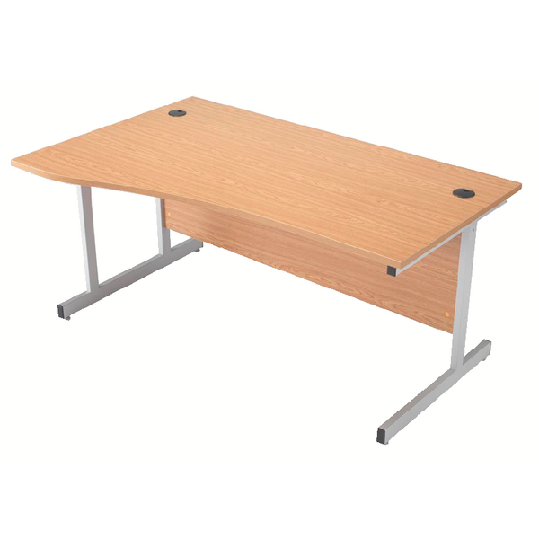Jemini Beech 1600mm Left Hand Cantilever Wave Desk KF838093