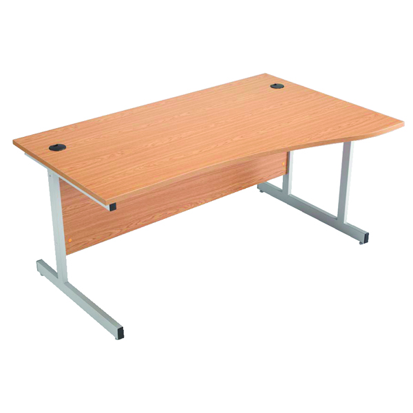 Jemini Beech 1600mm Right Hand Cantilever Wave Desk KF838096