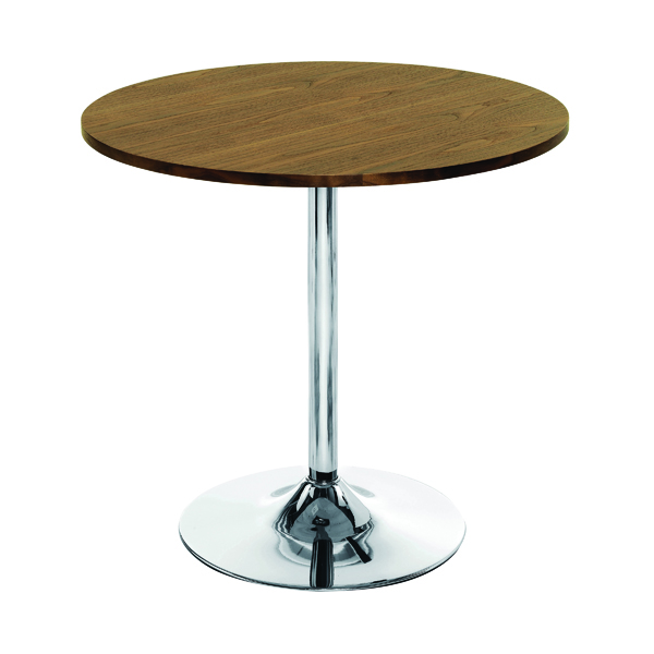 Arista Walnut/Chrome 800mm Small Bistro Trumpet Table KF838318