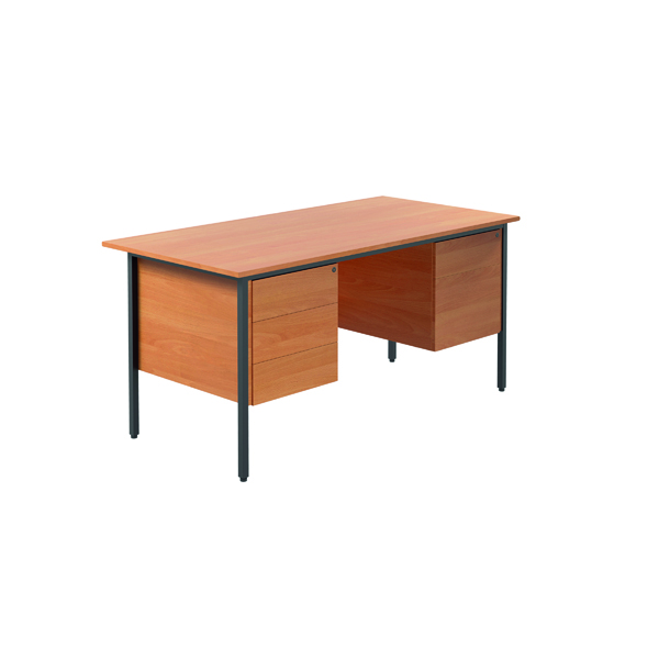Jemini Bavarian Beech 1500mm Four Leg Desk With Double Pedestal KF838379