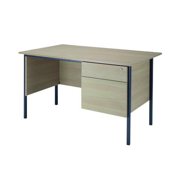 Jemini Intro Warm Maple 1200mm 4 Leg Desk With 2 Drawer Pedestal KF838534